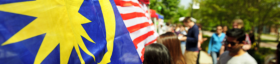 Malaysian flags blow in the wind at UNCG's 30th International Festival held on April 14, 2012